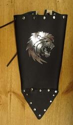 """Leren armkappen  """" Zilver leeuwenkop """"  Zwart"""