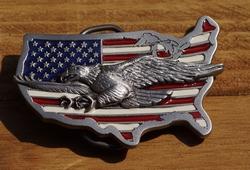 """Siergesp  """" Dalende adelaar op Americaanse vlag """""""