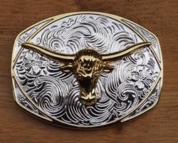 """Buckle / gesp  """" Longhorn """"  Zilver/goudkleurig"""