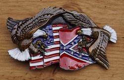 "Siergesp  "" Adelaar met rebel / USA vlaggen """