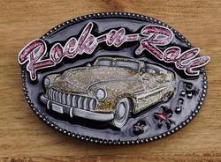 "Muziek gesp  "" Rock 'n roll ""  auto glitter goudkleurig"