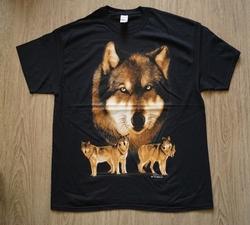 """T-shirt """"  Wolven roedel """"   Zwart"""