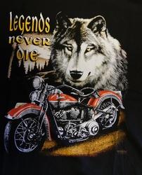 """T-shirt  """" Legens never die """"  Wolf met motor    Zwart"""