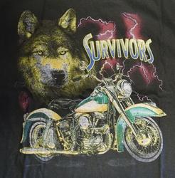 "T-shirt  "" Wolf met motor "" Zwart"