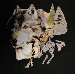 """T-shirt  """" Indiaan op paard met wolvenkop  """"   Zwart"""