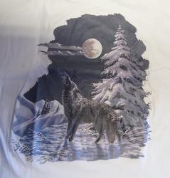 "T-shirt  "" Wolf in de sneeuw ""   Wit"