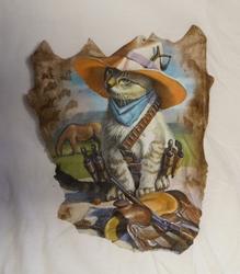 """T-shirt  """" Western kat """"   Wit"""