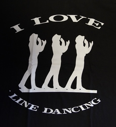 "T-shirt  "" I love line dancing ""   Zwart"