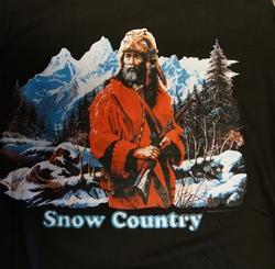"T-shirt  "" Cowboy in de sneeuw ""   Zwart"
