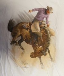 "T-shirt  "" Rodeo riding ""   Wit"
