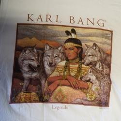 """T-shirt  """" Karl Bang,   Indiaanse met wolven """"   Wit"""