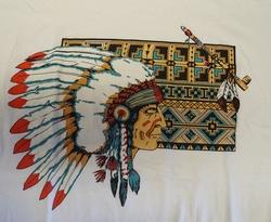 """T-shirt  """" Indiaan met vredespijp """"   Wit"""