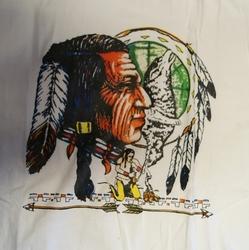 """T-shirt  """" Indiaan met mandela """"   Wit"""