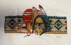 """T-shirt  """" Indiaan met adelaar """"   Wit"""