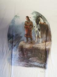 """T-shirt  """" Indiaan op rots met paard """"   Wit"""