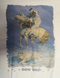 """T-shirt  """" Snow wolf, indiaan in de sneeuw """"   Wit"""