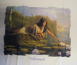 """T-shirt  """" Wenonah,  Indiaanse bij vijver """"   Wit"""