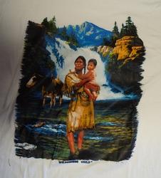 """T-shirt  """" Indiaanse bij waterval met kind """"   Wit"""