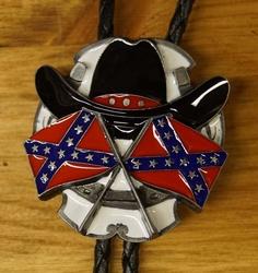 "Large bolo tie  "" Rebel vlaggen met cowboyhoed """