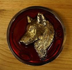 """Buckle  """" Wolf """"   Rood / goudkleurig"""