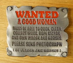 "Tekst buckle gesp  "" Wanted a good woman """