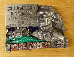 "Western buckle  "" $ 25.000 Jesse James dead or alive"""