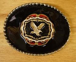 """Buckle """" Vliegende adelaar goudkleurig """"   Achtergrond zwart"""