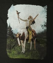"""T-shirt  """" Indiaan op paard """"   Zwart"""
