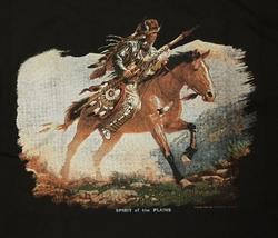 """T-shirt  """" Indiaan met speer op paard """"   Zwart"""