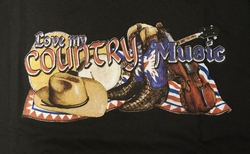"T-shirt  "" Love my country music ""   Zwart"