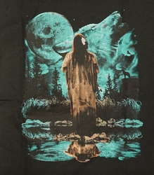 """T-shirt  """" Indiaan bij volle maan en wolf  """"  Zwart"""