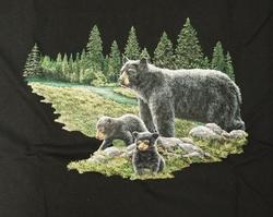 """T-shirt  """" Volwassen beer met kleine beertjes """"  Zwart"""