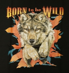 "T-shirt  "" Born to be wild  ""    Zwart"
