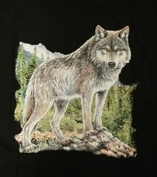 """T-shirt  """" Wolf """"  Zwart"""