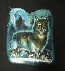 """T-shirt  """" Wolven bij volle maan """"  Zwart"""
