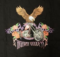 "T-shirt  "" Adelaar Highway goddess ""   Zwart"