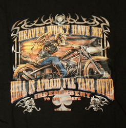 "T-shirt  "" Heaven won't have me, hell is afraid .. ""   Zwart"