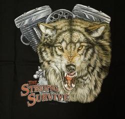 """T-shirt  """" The strong survive """"   Wolf met motorblok   Zwart"""