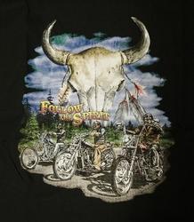 "T-shirt  "" Follow the spirit ""  Schedel / motorrijders Zwart"