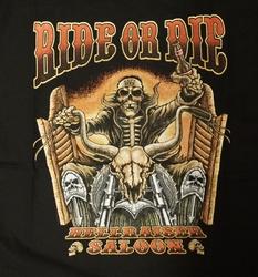 """T-shirt  """" Ride or die hellraiser saloon """"  Zwart"""