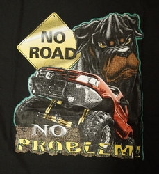 "T-shirt  ""  No road,   rottweiler ""  Zwart"