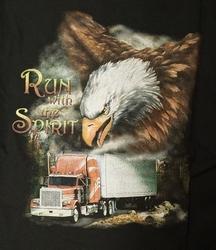 """T-shirt  """" Run woth the spirit """"  Zwart"""