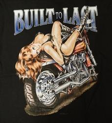 """T-shirt  """" Built to last """"  Meid op motor    Zwart"""