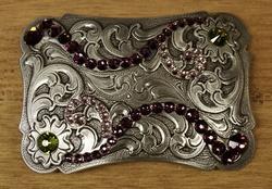 """Sterling zilveren buckle   """" Bloemen met strass paars """""""