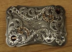 """Sterling zilveren buckle  """" Bloemen met strass wit """""""