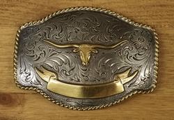 """Sterling zilveren buckle  """" Stierenkop """" zilver / goud"""