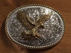 """Sterling zilveren buckle  """" Grijpende adelaar """" zilver/goud"""