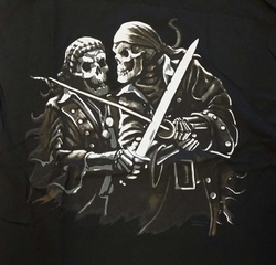 "T-shirt  ""  Piraten skeletten  ""  Zwart"