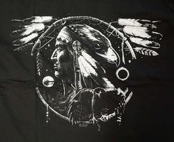 """T-shirt  """" Indianen met adelaar op dromenvanger """"   Zwart"""