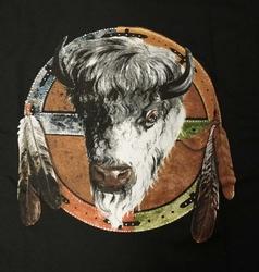 "T-shirt  "" Bison op mandela ""  Zwart"